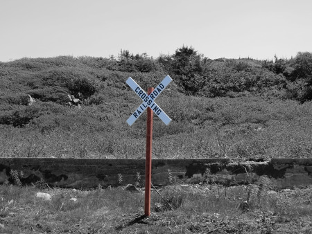 rail road crossing selective color Stock Photo - 33130936