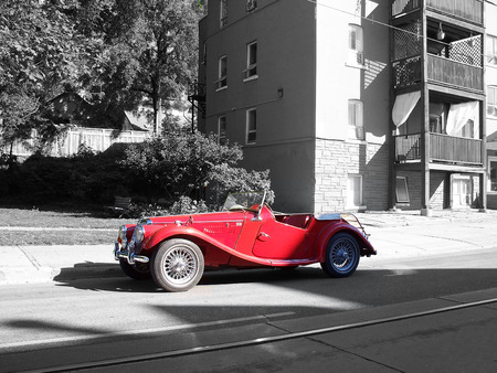 red sports car selective color