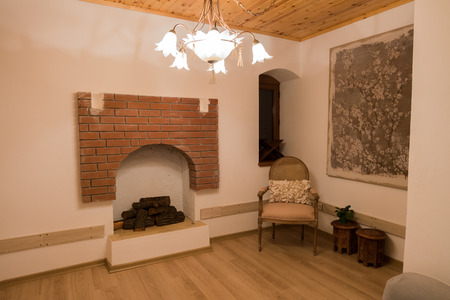 A nice room with open fire Stock Photo