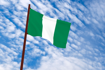 nigeria: 3d rendering Nigeria flag with sky background