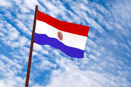 bandera de paraguay: Representaci�n 3D de la bandera Paraguay con el fondo del cielo
