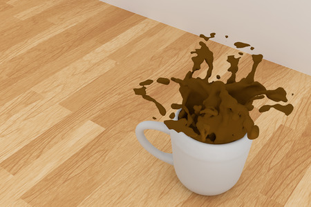 spill: 3D rendering of A cup of coffe spill on a table