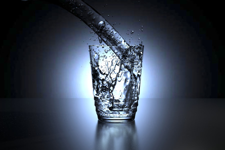 spill: 3D rendering of a glass of water spill