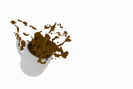 coffee spill: 3D rendering of A cup of coffee spill on a white background Stock Photo
