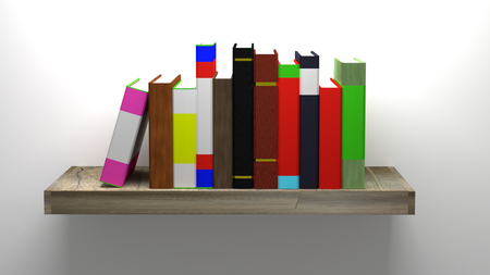 shelf with books: 3D rendering of books on wooden book shelf Stock Photo