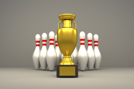 3D rendering of golden trophy and bowling pins