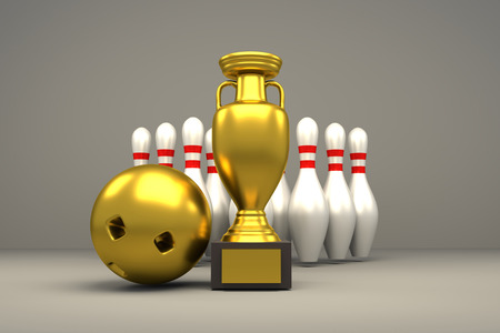 3D rendering of golden trophy, ball and bowling pins Stock Photo