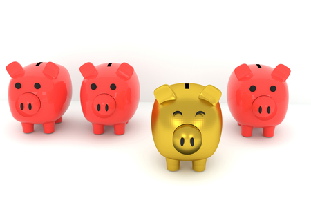 identical: 3D rendering of Golden piggy bank standing out from the others
