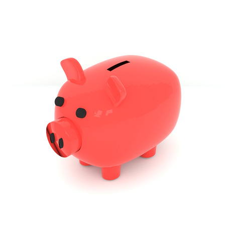3D rendering of piggy bank on white background