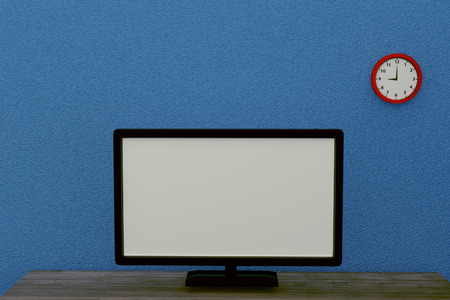 surround system: 3D rendering of modern wide screen television in a blue living room Stock Photo