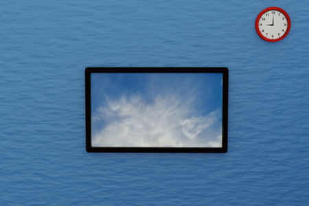 panel ling: 3D rendering of Wide screen television on blue wall background Stock Photo