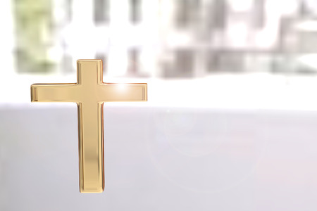 3d rendering of golden cross on a blur lighting background