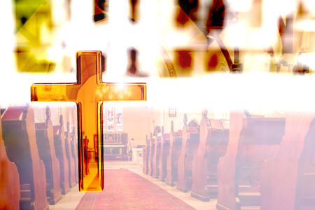 church 3d: 3d rendering of a golden cross and a church Stock Photo