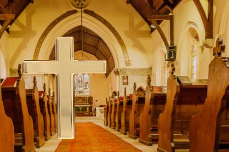 church 3d: 3D rendering of golden cross and church