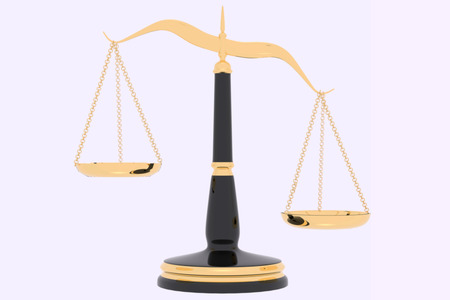 3D rendering of inbalance Law scales in white background Stock Photo