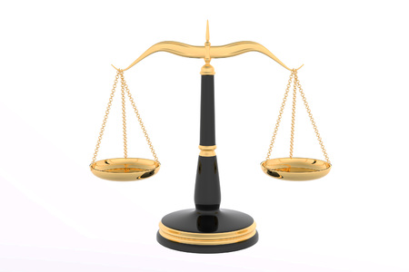 fair trial: 3D rendering of Law scales in white background