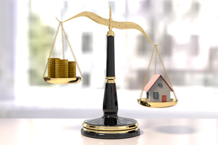 3D rendering of classic scales of justice with stacks of coins and a house, inbalance scale
