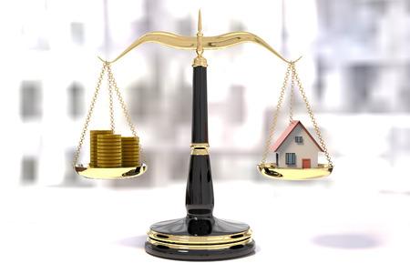 コインやハウス、バランスのスケールのスタックと正義の古典的なスケールの 3 D レンダリング