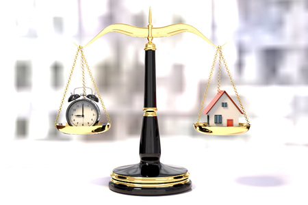 business symbols metaphors: 3D rendering of  an alarm clock and a house on a golden law scales, time efficiency concept Stock Photo