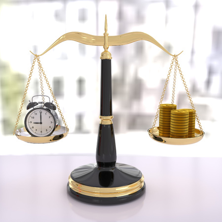 streamlining: 3D rendering of a balanced scale of time and money, time is money Stock Photo