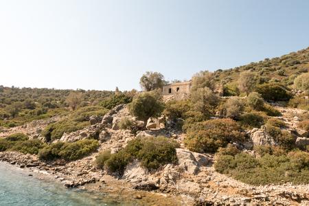 Byzantine church and monastery with mosaic in Aegean sea, Camellia island ,Turkey Stock Photo