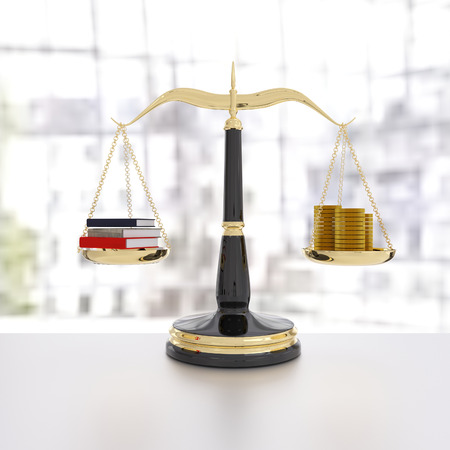 streamlining: 3D rendering of a balanced scale of educaiton and money, knowledge is power