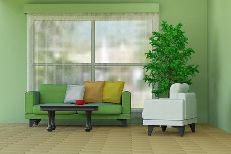 living room window: 3D rendering of a green living room with a sofa on window