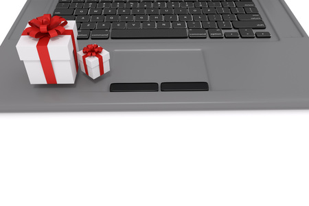 represents: 3D rendering of gift boxes on a labtop. represents online gift shopping concept. Stock Photo