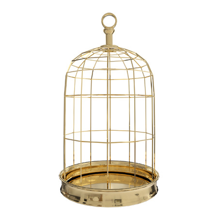 3D rendering of  a golden bird cage on white background, freedom concept