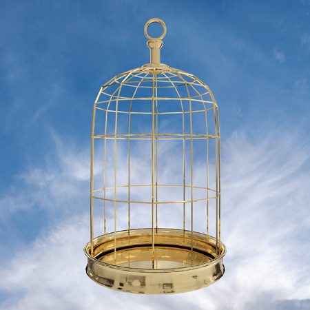 3D rendering of  a golden bird cage on sky, freedom concept