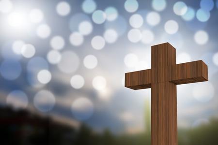 clavados: Representación 3D de la cruz de madera en un cielo azul con luz del sol y bokeh, dios concepto  amor