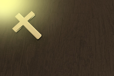 god 3d: 3D rendering of a golden cross on a table with sunllght, god love concept