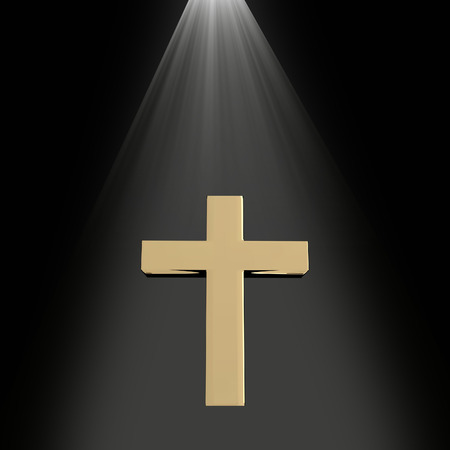 heaven light: 3D rendering of a golden cross with light from heaven on black, religion concept
