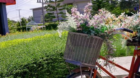 Bouquet of pink flowers in a bicycle basket