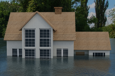 3D rendering of half of a house under flood, disaster concept Stock Photo