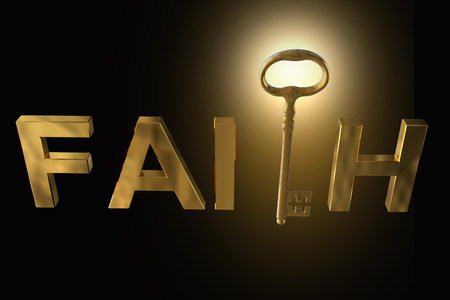 3D rendering of the golden key in faith letters on black Stock Photo