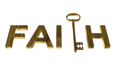 3D rendering of the golden key in faith letters on white Stock Photo
