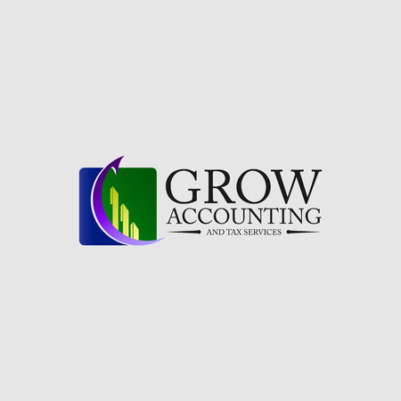 Accounting icon logo. Chart and arrow concept Çizim