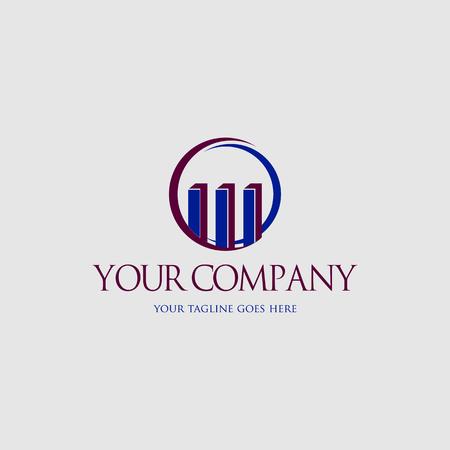 Accounting icon logo, Chart and Circle concept Çizim