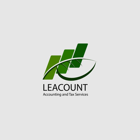 accounting icon logo design, chart and leaf concept Illustration
