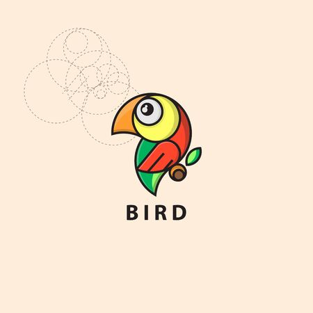 icon logo bird with grid style