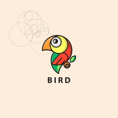 icon logo bird with grid style
