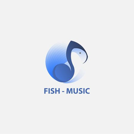 icon logo music and fish in the circle shape Ilustração