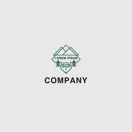 icon logo travel with landscape of mountain concept Çizim