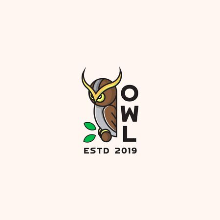 icon logo of owl with bold line Illustration