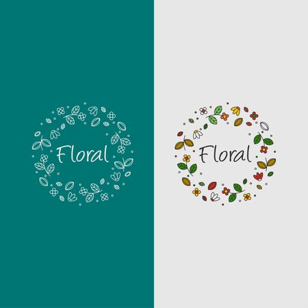 icon logo of floral with flowers and leaf concept