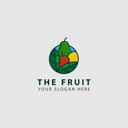 icon logo of fruits with bold line