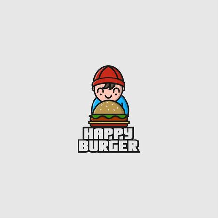 icon logo of child and burger