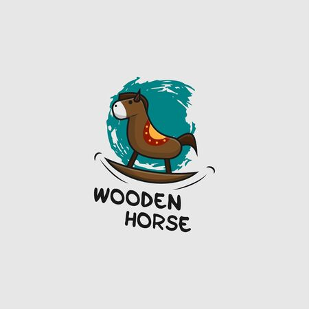 icon logo of wooden horse toy
