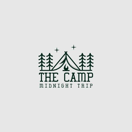icon logo illustration of camp with line art